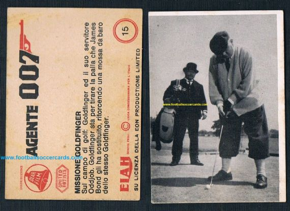 1965 Italian gum card Goldfinger 'Agente 007' James Bond golf card by Elah Movicolor